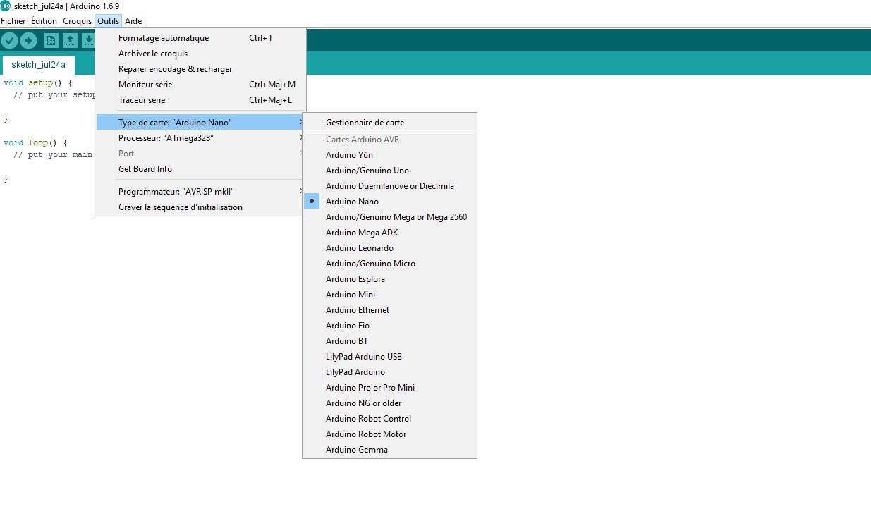 menu logiciel Arduino