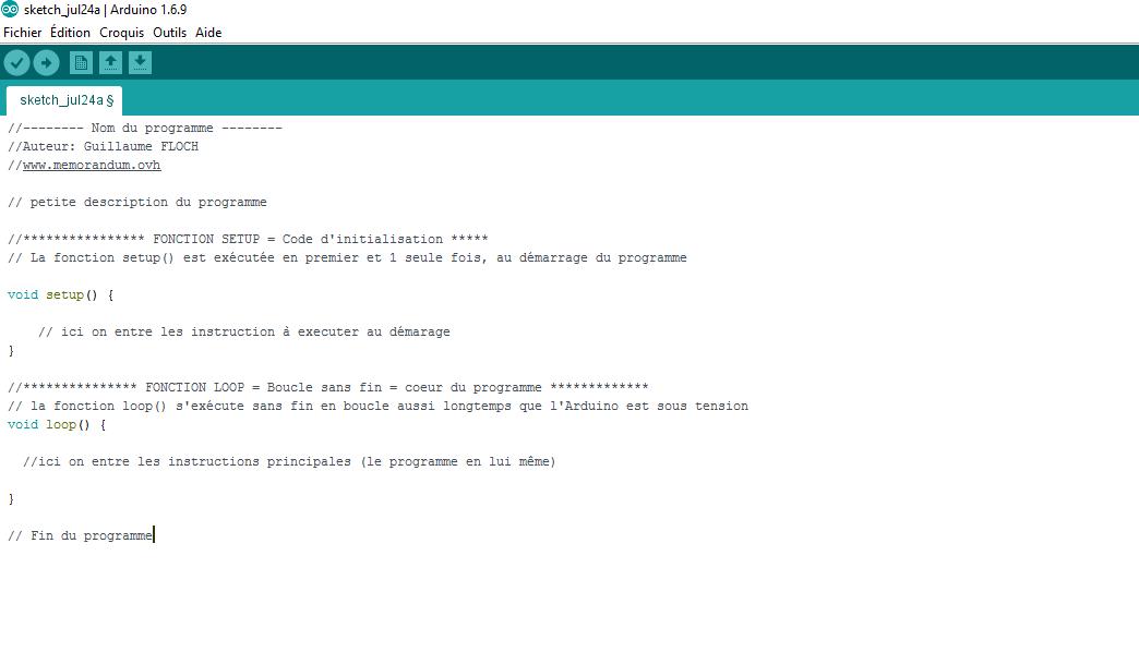 image avec description du fonctionnement d'un programme Arduino