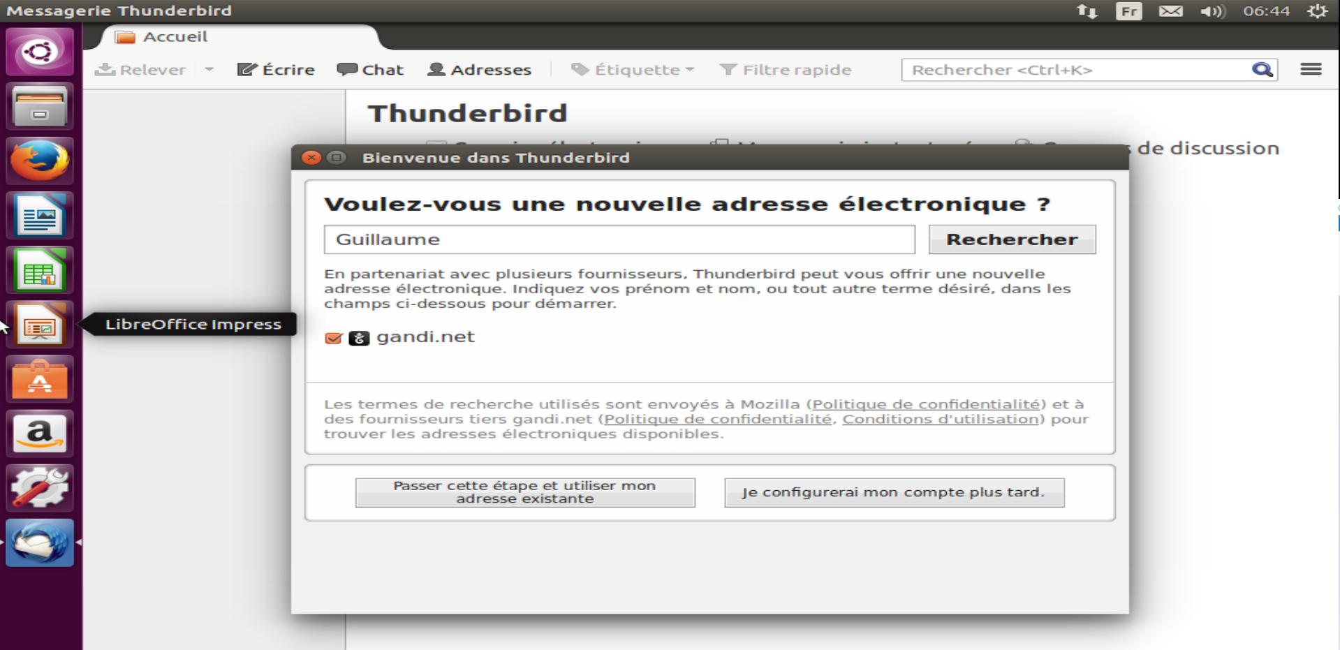 première ouverture Thunderbird