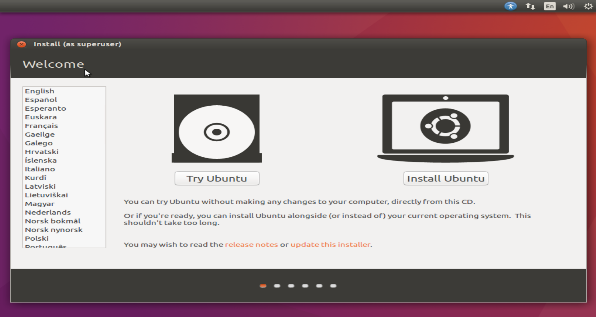 Copie d'écran installer ou essayer Ubuntu
